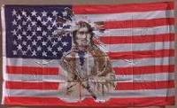 USA mit Indianer Flagge / Fahne 90cmx150cm